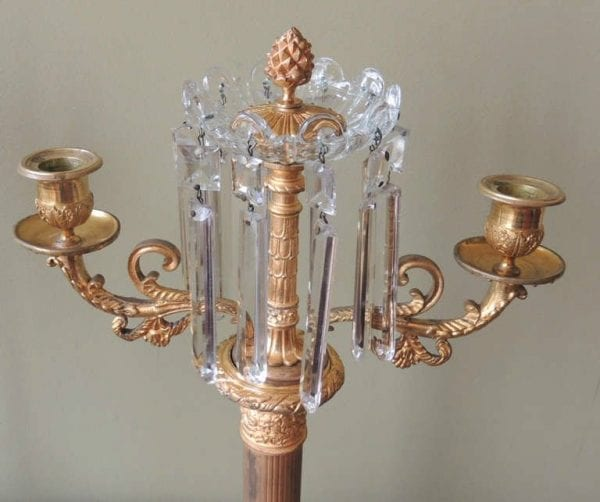 Pair of 19th Century French Crystal and Bronze Doré Candelabras