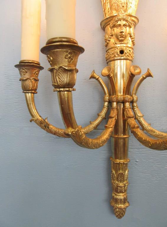 Pair of 19th Century French Empire Bronze Sconces