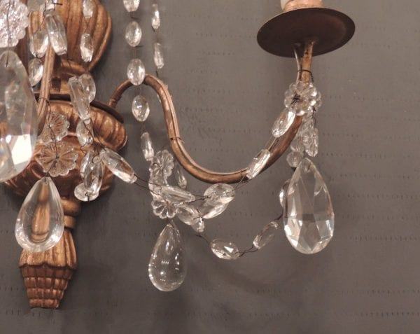 Pair of 19th Century Genoese Crystal and Wood Gilt Sconces