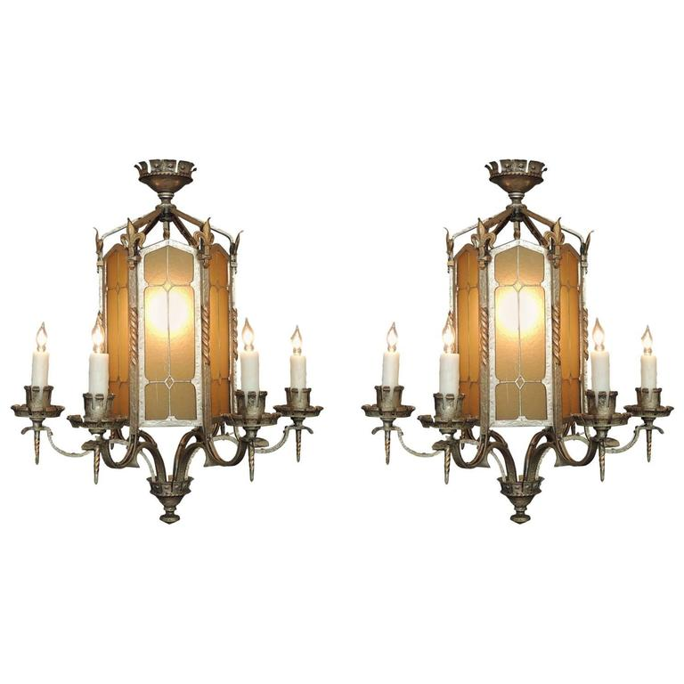 Pair of 20th Century American Gothic Lanterns, attributed to Edward Caldwell