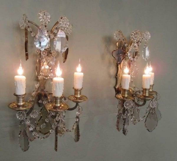 Pair of 20th Century French Louis XIV Crystal and Bronze Sconces